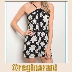 Pants - black and white floral romper